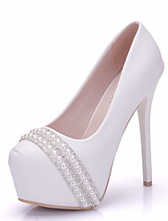 cheap -Women's PU(Polyurethane) Spring &  Fall Sweet Wedding Shoes Platform Round Toe Rhinestone / Imitation Pearl White