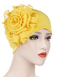 Недорогие -Жен. Для офиса Классический Симпатичные Стиль Широкополая шляпа Нейлон Лайкра,Однотонный Цветочный принт Все сезоны Лиловый Оранжевый Желтый