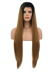 cheap -Synthetic Lace Front Wig Straight Matte Middle Part Lace Front Wig Long Black / Strawberry Blonde Synthetic Hair 24 inch Women's Party Women Medium Size Brown