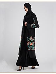 cheap -Adults' Women's A-Line Slip Ethnic Arabian Dress Abaya Kaftan Dress Jalabiya Muslim Dress Maxi Dresses For Halloween Daily Wear Festival Tulle Embroidery Embroidery Long Length Dress 1 Belt