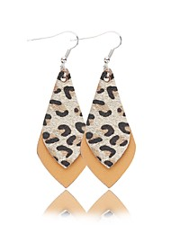 cheap -Women's Earrings Geometrical Stylish Leather Earrings Jewelry Black / Beige / White / Yellow For Party Daily 1pc