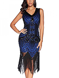 cheap -Sheath / Column V Neck Knee Length Tulle / Sequined Sparkle & Shine / Elegant Cocktail Party / Wedding Party Dress with Beading / Crystals / Embroidery 2020