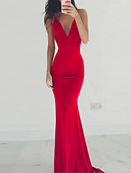 cheap -Women's Party Cocktail Party Prom Sexy Maxi Slim Trumpet / Mermaid Dress - Solid Colored Backless Deep V Spring Black Wine Red S M L XL