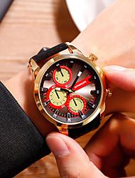 cheap -Men's Dress Watch Quartz Oversized Leather Black / Orange Water Resistant / Waterproof Large Dial Analog Classic Casual Fashion - Black / Red Blue / Black Black / Silver