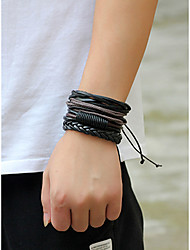 cheap -Men's Bracelet Bangles Vintage Style Stylish Leather Bracelet Jewelry Black For Daily
