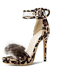 cheap -Women's Suede / PU(Polyurethane) Spring & Summer Classic Sandals Stiletto Heel Open Toe Buckle Black / Dark Red / Leopard / Wedding / Party & Evening