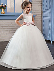 cheap -Princess Long Length Flower Girl Dress - Tulle / Mikado Sleeveless Jewel Neck with Bow(s) by LAN TING Express