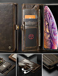 cheap -Case For Apple iPhone XR / iPhone XS Max / iPhone 8 Plus Wallet / Card Holder / with Stand Full Body Cases Solid Colored Hard PU Leather