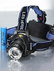 Недорогие -Налобные фонари Фары для велосипеда Водонепроницаемый Перезаряжаемый 1200 lm Светодиодная лампа LED 1 излучатели 3 Режим освещения с батарейками