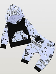 cheap -Baby Boys' Street chic Daily Print Long Sleeve Regular Clothing Set Black / Toddler