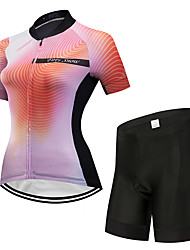 cheap -FirtySnow Women's Short Sleeve Cycling Jersey with Shorts Orange Gradient Bike Clothing Suit Breathable Moisture Wicking Quick Dry Sports Polyester Gradient Mountain Bike MTB Road Bike Cycling