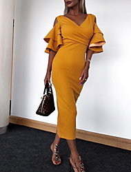 cheap -Women's Maxi Sheath Dress - Short Sleeve Solid Colored Spring Summer V Neck Basic Street chic Party Slim Kentucky Derby Wine Yellow Green S M L XL XXL / Sexy