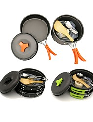 cheap -ARDI® Camping Cookware Mess Kit Camping Pot Camping Fry Pan Dinnerware Set Utensils Lightweight for 1 - 2 person Aluminium Alloy Outdoor Hiking Camping Black Orange Green