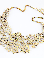 cheap -Women's Statement Necklace Floral Vintage European Fashion Chunky Chrome Gold Silver 40 cm Necklace Jewelry 1pc For Daily
