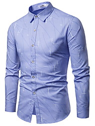 cheap -Men's Daily Business Shirt - Solid Colored / Galaxy Print Light Blue