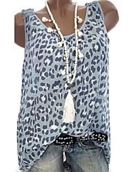 cheap -Women's Daily Plus Size Blouse - Geometric / Color Block Leopard Print / Fashion / Print Blushing Pink / Spring / Summer / Fall