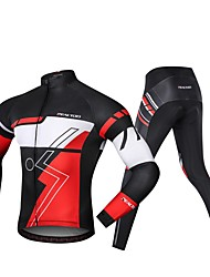 cheap -Realtoo Men's Long Sleeve Cycling Jersey with Tights Black / Red Bike Clothing Suit 3D Pad Sports Spandex Classic Mountain Bike MTB Road Bike Cycling Clothing Apparel / Micro-elastic / Triathlon