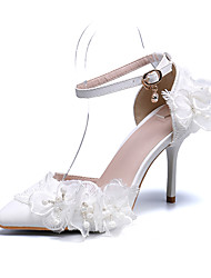 cheap -Women's Wedding Shoes Party Heels Stiletto Heel Pointed Toe Imitation Pearl / Satin Flower / Buckle PU Vintage / Minimalism Spring & Summer / Fall & Winter White / Pink / Party & Evening