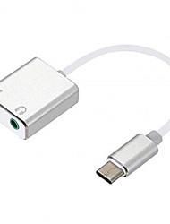 Недорогие -USB 3.1 Type C Конвертер, USB 3.1 Type C к Аудио 3,5 мм Конвертер Male - Female Никелированная сталь 0.15m (0.5Ft)