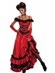 cheap -Spanish Lady Dress Adults' Women's Flamenco Halloween Carnival Masquerade Festival / Holiday Lace Polyster Red Women's Carnival Costumes Lace / Gloves / Neckwear