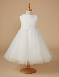 cheap -Ball Gown Knee Length Flower Girl Dress - Lace / Tulle Sleeveless Jewel Neck with Appliques / First Communion