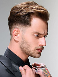 cheap -Men's Human Hair Toupees Straight 100% Hand Tied Soft / Light Brown