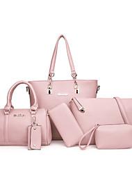 cheap -Women's PU Bag Set Bag Sets 6 Pieces Purse Set Black / Brown / Blushing Pink