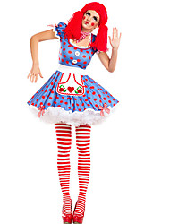 cheap -Burlesque Clown Dress Party Costume Adults' Men's Funny & Reluctant Halloween Christmas Halloween Carnival Festival / Holiday Polyster Blue Carnival Costumes Polka Dot