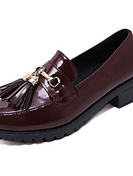 cheap -Women's Loafers & Slip-Ons Low Heel Tassel Patent Leather Casual Spring Black / Burgundy / Daily