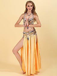 cheap -Belly Dance Outfits Women's Training / Performance Polyester Crystals / Rhinestones / Paillette Sleeveless Dropped Skirts / Bra / Waist Accessory