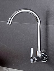 cheap -Kitchen faucet - Single Handle One Hole Standard Spout / Tall / ­High Arc Wall Mounted Contemporary Kitchen Taps / Brass