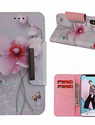 cheap -Case For Apple iPhone XS / iPhone XR / iPhone XS Max Wallet / Card Holder / Shockproof Full Body Cases Butterfly / Flower Hard PU Leather
