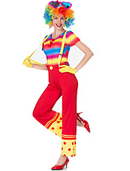 cheap -Burlesque Clown Circus Party Costume Adults' Women's Funny & Reluctant Halloween Christmas Halloween Carnival Festival / Holiday Polyster Red Female Carnival Costumes Patchwork