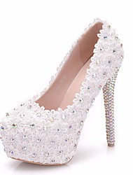 cheap -Women's Lace / PU(Polyurethane) Spring &  Fall Sweet Wedding Shoes Platform Round Toe Rhinestone / Satin Flower White