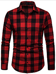 cheap -Men's Plaid Shirt Business Daily Black / Blue / Red / Long Sleeve