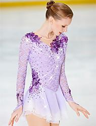 cheap -21Grams Figure Skating Dress Women's Girls' Ice Skating Dress Yan pink Violet White / White Spandex Stretch Yarn High Elasticity Skating Wear Handmade Crystal / Rhinestone Long Sleeve Ice Skating