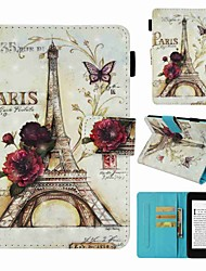 cheap -Case For Amazon Kindle PaperWhite 4 Card Holder / Shockproof / Pattern Full Body Cases Eiffel Tower Hard PU Leather