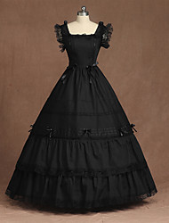 cheap -Cosplay Gothic Lolita Ruffle Vintage Inspired Dress Party Costume Women's Costume Black Vintage Cosplay Dress Sleeveless Floor Length Ball Gown