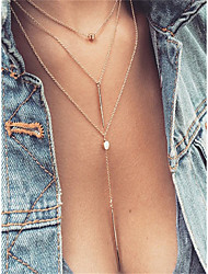 abordables -Collier Femme Dorée Argent 55 cm Colliers Tendance Bijoux 1pc pour Quotidien Rendez-vous