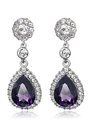 cheap -Women's Amethyst Drop Earrings Briolette Drop European Fashion Earrings Jewelry White / Purple / Red For Daily 1 Pair