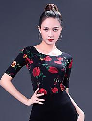 cheap -Ballroom Dance Tops Women's Performance Ice Silk Pattern / Print Half Sleeve Top