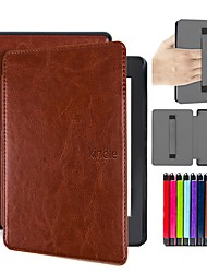 cheap -Case For Amazon Kindle PaperWhite 4 Shockproof / Auto Sleep / Wake Up Full Body Cases Solid Colored Hard PU Leather