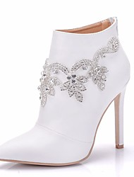 cheap -Women's PU(Polyurethane) Spring &  Fall Sweet Wedding Shoes Stiletto Heel Pointed Toe Booties / Ankle Boots Rhinestone / Sparkling Glitter White