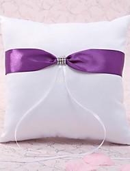 cheap -Silk Like Satin Ribbon Bow / Crystal / Rhinestone Satin Ring Pillow Wedding All Seasons