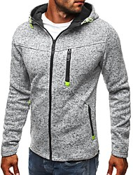 cheap -Men's Hoodie Jacket Hoodie Polka Dot Split Hooded Active Basic Hoodies Sweatshirts  Long Sleeve Black Light gray / Sports / Spring / Fall / Work
