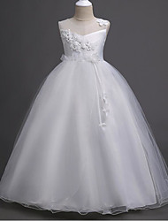 cheap -A-Line Floor Length Wedding / First Communion Flower Girl Dresses - Polyester / Polyester / Cotton Sleeveless Jewel Neck with Lace / Embroidery / Ruching