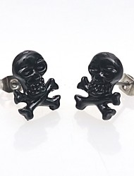 cheap -Punk Retro Skull Head Ear Piercing Studs Earrings Titanium Steel Earring Ghost Studs