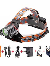 cheap -U'King Headlamps Headlight Mini 4800 lm LED LED 3 Emitters 4 Mode with Batteries and Charger Mini Easy Carrying Camping / Hiking / Caving Everyday Use Cycling / Bike / Aluminum Alloy