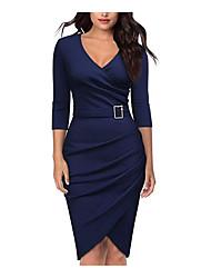 cheap -Women's Daily WorkWear Basic Bodycon Sheath Dress V Neck Cotton Black Wine White S M L XL
