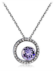 cheap -Women's Purple Crystal Amethyst Pendant Necklace Classic Simulated Sun Classic Fashion Elegant Silver Plated Chrome Imitation Diamond Silver 43 cm Necklace Jewelry 1pc For Daily Formal